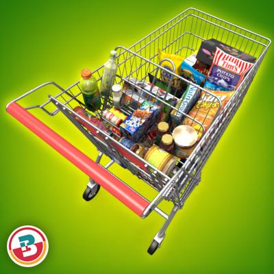 3D Model of Shopping cart full of grocery products - 3D Render 3