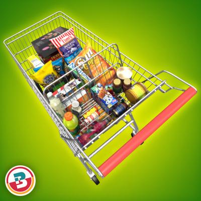 3D Model of Shopping cart full of grocery products - 3D Render 4