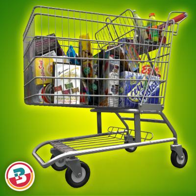3D Model of Shopping cart full of grocery products - 3D Render 5
