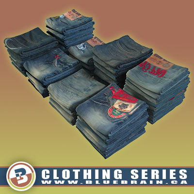 3D Model of Clothing Series - Realistic Folded Jeans - 3D Render 0
