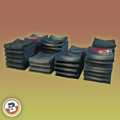 3D Model of Clothing Series - Realistic Folded Jeans - 3D Render 1