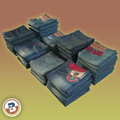 3D Model of Clothing Series - Realistic Folded Jeans - 3D Render 2