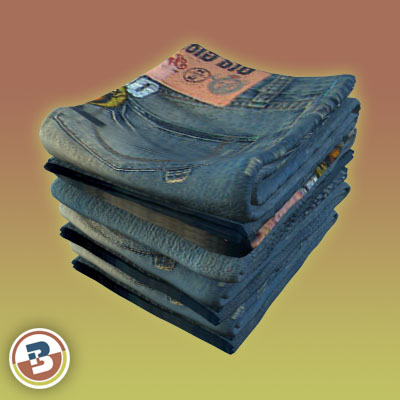 3D Model of Clothing Series - Realistic Folded Jeans - 3D Render 4