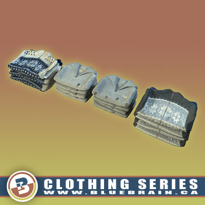 3D Model of Clothing Series - Realistic Folded Sweaters - 3D Render 0