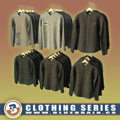 3D Model of Clothing Series - Realistic Hung Long-Sleeved Shirts - 3D Render 0