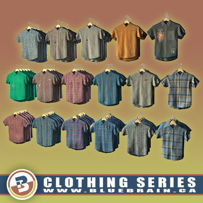 3D Model of Clothing Series - Realistic Hung Short-Sleeved Shirts - 3D Render 0