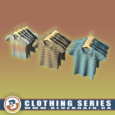 3D Model of Clothing Series - Realistic Hung Polo Shirts - 3D Render 0