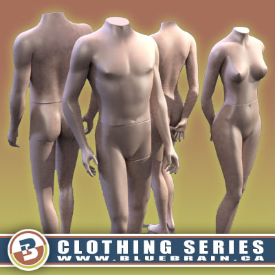 3D Model of Clothing Series - Realistic Male and Female Mannequins - 3D Render 0