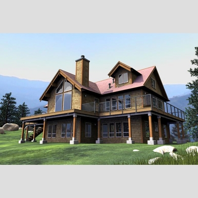 3D Model of Realistic Country House - 3D Render 0