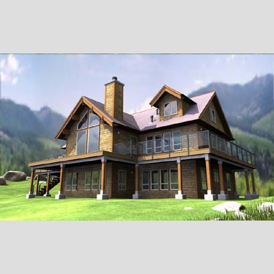 3D Model of Realistic Country House - 3D Render 1