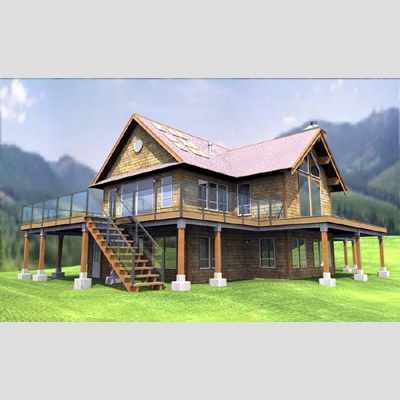 3D Model of Realistic Country House - 3D Render 2