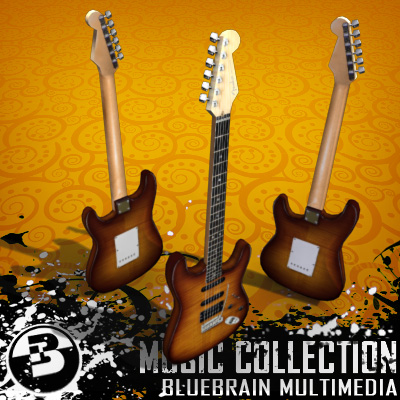 3D Model of Game-ready low polygon stratocaster-style electric guitar - 3D Render 1