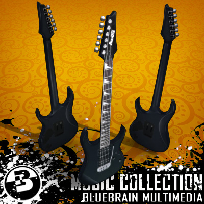 3D Model of Game-ready low polygon ibanez-style electric guitar - 3D Render 0