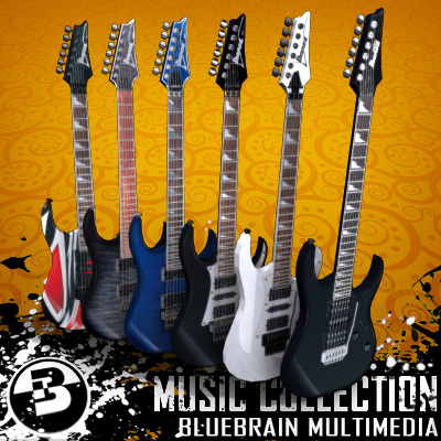 3D Model of Game-ready low polygon collection of ibanez-style electric guitars - 3D Render 0