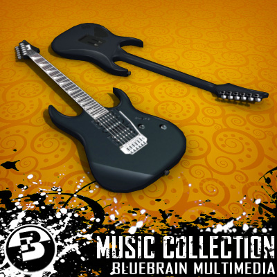 3D Model of Game-ready low polygon collection of ibanez-style electric guitars - 3D Render 1