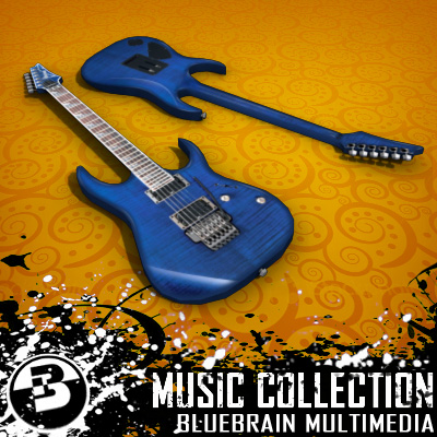 3D Model of Game-ready low polygon collection of ibanez-style electric guitars - 3D Render 4