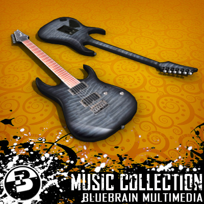 3D Model of Game-ready low polygon collection of ibanez-style electric guitars - 3D Render 5