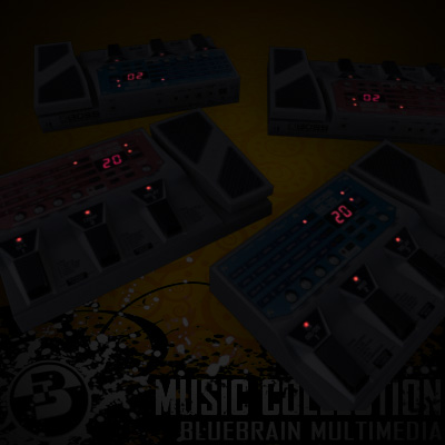 3D Model of Game-ready low polygon guitar fx pedals - 3D Render 2