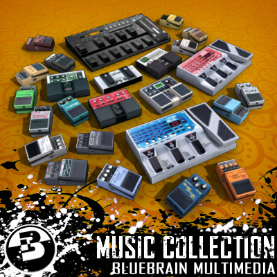 3D Model of Game-ready low polygon collection of guitar FX pedals - 3D Render 0