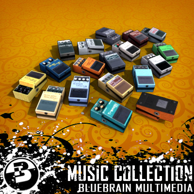 3D Model of Game-ready low polygon collection of guitar FX pedals - 3D Render 1