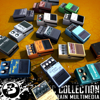3D Model of Game-ready low polygon collection of guitar FX pedals - 3D Render 2