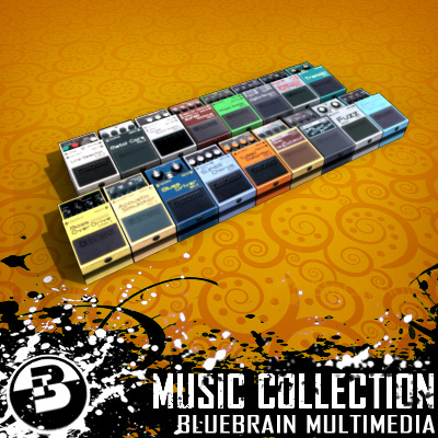 3D Model of Game-ready low polygon collection of guitar FX pedals - 3D Render 3