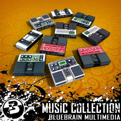 3D Model of Game-ready low polygon collection of guitar FX pedals - 3D Render 4