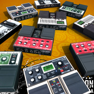 3D Model of Game-ready low polygon collection of guitar FX pedals - 3D Render 5