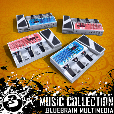 3D Model of Game-ready low polygon collection of guitar FX pedals - 3D Render 6