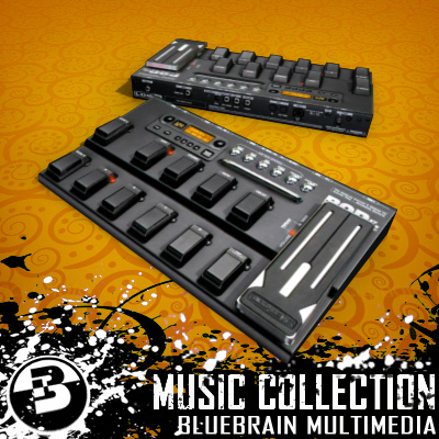 3D Model of Game-ready low polygon collection of guitar FX pedals - 3D Render 8