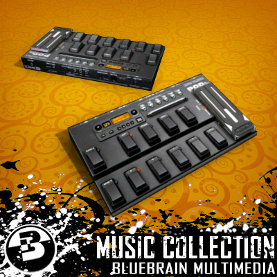 3D Model of Game-ready low polygon collection of guitar FX pedals - 3D Render 9