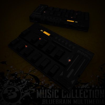 3D Model of Game-ready low polygon collection of guitar FX pedals - 3D Render 17