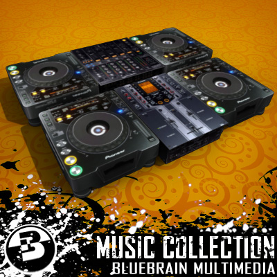 3D Model of Game-ready low polygon collection of DJ Gear models - 3D Render 0
