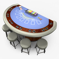 Preview image for 3D product Casino Blackjack Table - Blue