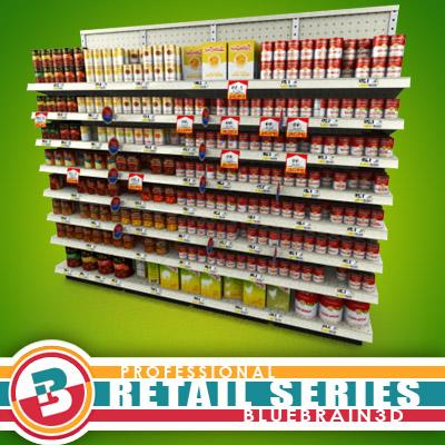 3D Model of Grocery shelves stocked with low poly soup products - 3D Render 0