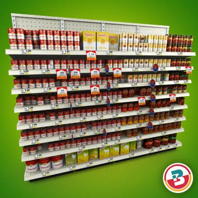 3D Model of Grocery shelves stocked with low poly soup products - 3D Render 1
