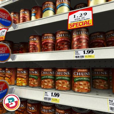 3D Model of Grocery shelves stocked with low poly soup products - 3D Render 4