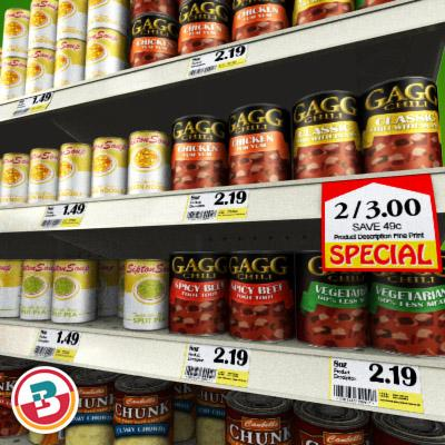 3D Model of Grocery shelves stocked with low poly soup products - 3D Render 5