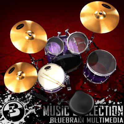 3D Model of Game-ready low polygon drum kit - 3D Render 0