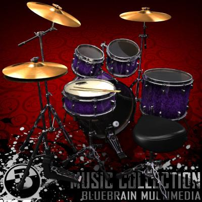 3D Model of Game-ready low polygon drum kit - 3D Render 2