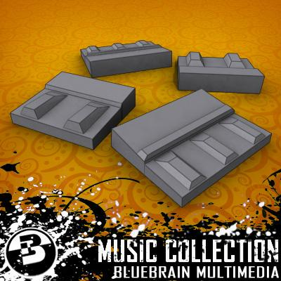 3D Model of Game-ready low polygon guitar FX pedals - 3D Render 1