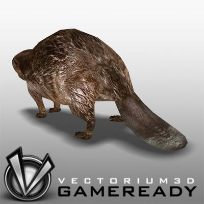 3D Model of Low Poly Game Ready Animals - Beaver - 3D Render 1