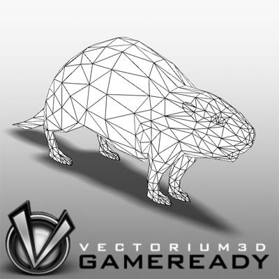3D Model of Low Poly Game Ready Animals - Beaver - 3D Render 2