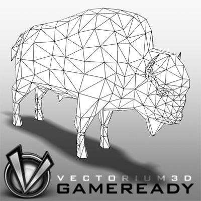 3D Model of Low Poly Game Ready Animals - Bison - 3D Render 2