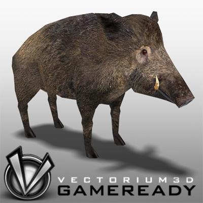 3D Model of Low Poly Game Ready Animals - Boar - 3D Render 0