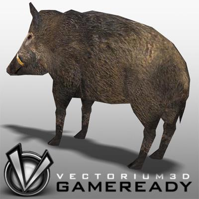 3D Model of Low Poly Game Ready Animals - Boar - 3D Render 1