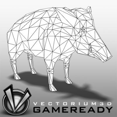 3D Model of Low Poly Game Ready Animals - Boar - 3D Render 2