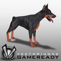 3D Model Download - Low Poly Animals - Doberman
