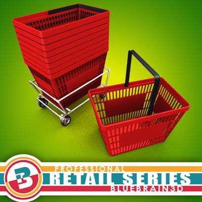 3D Model of Grocery Basket - 3D Render 0