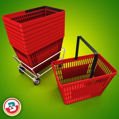 3D Model of Grocery Basket - 3D Render 1